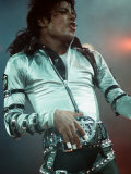 Michael Jackson Performing on Stage at Wembley During the Bad Concert Tour, July 14, 1997 Fotografisk tryk