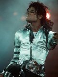 Michael Jackson Performing on Stage at Wembley During the Bad Concert Tour, July 14, 1997 Papier Photo
