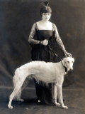 Theda Bara with Her Russian Wolfhound, Belva, 1916 Photo