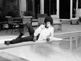 Michael Jackson at Home in Los Angeles by the Poolside, Lounging on Diving Board, February 23, 1973 Papier Photo