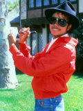 Michael Jackson Signing His Autograph at His Home, April 1984 Photographic Print