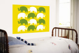 Yellow Elephant Family Wall Mural by  Avalisa