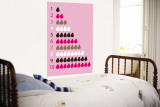 Pink Counting Pears Wall Mural by  Avalisa