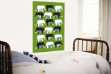 Green Elephant Pattern Wall Mural by Avalisa 
