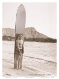 Duke Kahanamoku with Surfboard, Hawaii, c.1930 Affiches