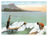Surfboard Riding, Honolulu, Hawaii Posters