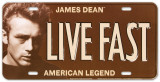 James Dean - Live Fast License Plate Plaque en m&#233;tal