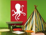 Red Octopus Wall Mural by  Avalisa