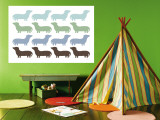Blue Daschund Family Wall Mural by  Avalisa