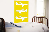 Yellow Planes Wall Mural by Avalisa