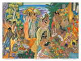Island Feast, Traditional Hawaiian Celebration Posters af Eugene Savage