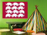 Red Elephant Family Wall Mural by  Avalisa