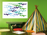 Airplane Pattern Wall Mural by Avalisa