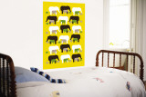 Yellow Elephant Pattern Wall Mural by  Avalisa