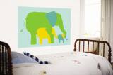 Green Elephants Wall Mural by Avalisa