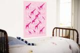 Pink Giraffe Pattern Wall Mural by  Avalisa