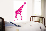 Pink Giraffe Wall Mural by  Avalisa