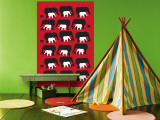 Red Elephant Pattern Wall Mural by Avalisa