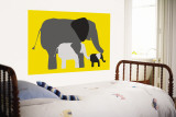 Yellow Elephants Wall Mural by  Avalisa