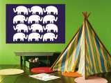 Blue Elephant Family Wall Mural by  Avalisa