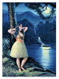 Romantic Hula Girl, Calendar Page, c.1930s Art