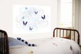 Blue Butterfly Trails Wall Mural by  Avalisa