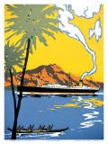 Steamship and Hawaiian Outrigger Canoe, c.1930 Prints