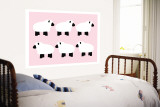 Pink Sheep Family Wall Mural by  Avalisa