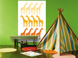 Orange Giraffe Family Wall Mural by Avalisa 