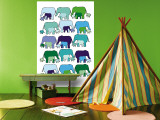 Elephant Pattern Wall Mural by  Avalisa