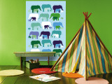 Blue Elephant Pattern Wall Mural by  Avalisa