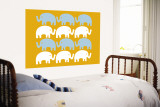 Orange Elephant Family Wall Mural by  Avalisa