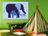 Blue Elephants Wall Mural by  Avalisa