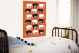Orange Elephant Pattern Wall Mural by  Avalisa