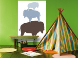 Blue Buffalo Wall Mural by  Avalisa