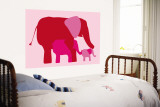 Pink Elephants Wall Mural by Avalisa