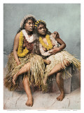 Hawaiian Hula Girls with Flower Leis, c. 1880 Art