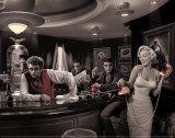 Java Dreams: Presley, Monroe, Bogart und Dean beim Billard Kunstdrucke von Chris Consani