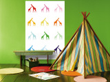Rainbow Giraffes Wall Mural by  Avalisa