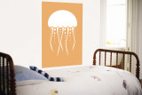 Orange Jellyfish Wall Mural by Avalisa