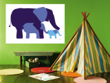 Blue Elephants Reproduction murale par  Avalisa