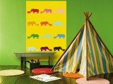 Yellow Rainbow Rhinos Wall Mural by  Avalisa