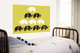 Yellow Counting Elephants Wall Mural by Avalisa