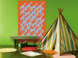 Orange Giraffe Pattern Wall Mural by  Avalisa