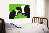 Green Cows Wall Mural by Avalisa