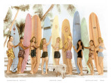 Hawaiian Surfer Girls, Hand Colored Photo Print by  Himani