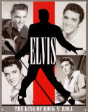 Elvis King of Rock n Roll Plaque en métal