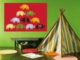 Red Counting Elephants reproduction murale géante par  Avalisa