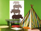Brown Rhino Wall Mural by  Avalisa