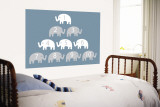 Blue Counting Elephants Wandgemälde von Avalisa